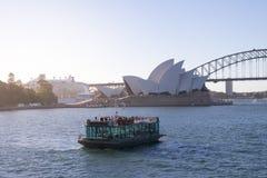 Άποψη του εικονικού ορόσημου του Σίδνεϊ, της Όπερας και του λιμανιού Στοκ εικόνα με δικαίωμα ελεύθερης χρήσης