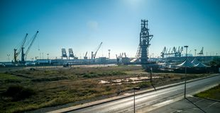 Άποψη του εμπορικού λιμένα στο Puerto de θλσαγuντο στοκ φωτογραφία