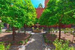 Άποψη του εσωτερικού patio - Alcubilla Countryard Patio de Λα Alcubill στοκ φωτογραφίες