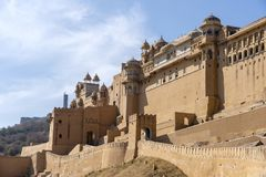 Άποψη του ηλέκτρινου οχυρού στο Jaipur, Rajasthan, Ινδία στοκ φωτογραφία με δικαίωμα ελεύθερης χρήσης