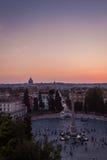 Άποψη του ηλιοβασιλέματος στη Ρώμη Στοκ Φωτογραφίες