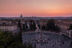 Άποψη του ηλιοβασιλέματος στη Ρώμη Στοκ εικόνα με δικαίωμα ελεύθερης χρήσης