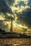 Άποψη του ηλιοβασιλέματος στον κόλπο της Σεβαστούπολης στοκ φωτογραφίες