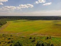 Άποψη του θερινού δάσους από τον κηφήνα στοκ φωτογραφία