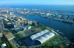 Άποψη του λιμένα Kaohsiung και του κέντρου έκθεσης Στοκ φωτογραφία με δικαίωμα ελεύθερης χρήσης