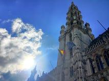 Άποψη του ιστορικού cityhall στο κέντρο των Βρυξελλών Στοκ εικόνα με δικαίωμα ελεύθερης χρήσης