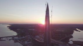 Άποψη του κέντρου lakhta στην Άγιος-Πετρούπολη από το copter φιλμ μικρού μήκους