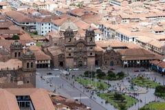Άποψη του καθεδρικού ναού και Plaza de Armas Cusco Στοκ εικόνα με δικαίωμα ελεύθερης χρήσης