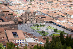 Άποψη του καθεδρικού ναού και Plaza de Armas Cusco Στοκ φωτογραφίες με δικαίωμα ελεύθερης χρήσης