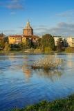 Άποψη του καθεδρικού ναού της Παβία από Ticino Στοκ εικόνες με δικαίωμα ελεύθερης χρήσης