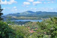 Άποψη του καναλιού του Παναμά, πόλη του Παναμά, Παναμάς στοκ εικόνα