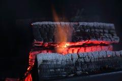 Άποψη του καψίματος του ξύλου στη θέση πυρκαγιάς Στοκ Εικόνες