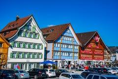 Άποψη του κεντρικού τετραγώνου σε Appenzell Ελβετία το πρωί ο Στοκ Φωτογραφίες