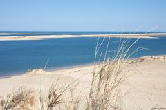 Άποψη του κόλπου του Αρκασόν και το Duna Pyla, Pilat Aquitaine, Γαλλία υψηλότερος αμμόλοφος στην Ευρώπη στοκ φωτογραφία με δικαίωμα ελεύθερης χρήσης