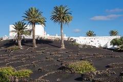 Άποψη του Λα Geria, η περιοχή αμπελοκαλλιέργειας Lanzarote, Ισπανία Στοκ εικόνα με δικαίωμα ελεύθερης χρήσης