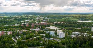 Άποψη του λιμανιού του Kuopio, Φινλανδία στοκ εικόνα