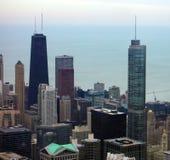 Άποψη του Μίτσιγκαν κτηρίων και λιμνών οριζόντων του Σικάγου από τον ουρανό Στοκ φωτογραφία με δικαίωμα ελεύθερης χρήσης