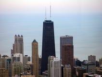 Άποψη του Μίτσιγκαν κτηρίων και λιμνών οριζόντων του Σικάγου από τον ουρανό Στοκ Φωτογραφία