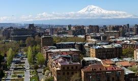 Άποψη του μεγαλοπρεπούς υποστηρίγματος Ararat από Jerevan Στοκ Εικόνα