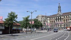 Άποψη του μετώπου της αίθουσας πόλεων απόθεμα βίντεο