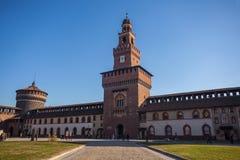 12 12 2017  Άποψη του Μιλάνου, Ιταλία - Sforza Castle στο Μιλάνο ιταλικά Στοκ Εικόνες