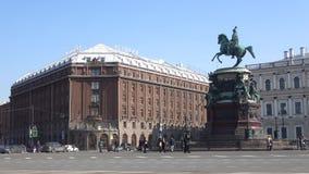Άποψη του μνημείου στον αυτοκράτορα Nicholas Ι και το ξενοδοχείο Astoria Πετρούπολη Άγιος φιλμ μικρού μήκους