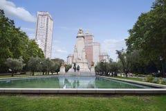 Άποψη του μνημείου του Miguel de Θερβάντες Plaza de Espana Στοκ εικόνα με δικαίωμα ελεύθερης χρήσης