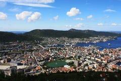 Άποψη του Μπέργκεν Σκανδιναβία άνωθεν Στοκ εικόνα με δικαίωμα ελεύθερης χρήσης