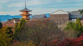 Άποψη του ναού Kiyomizu στο Κιότο, Ιαπωνία Landcape Kiyomizu te Στοκ Φωτογραφία