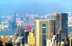 Άποψη του νησιού Χονγκ Κονγκ από την αιχμή Βικτώριας Στοκ Εικόνα