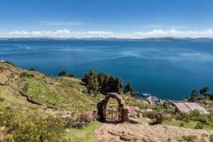 Άποψη του νησιού Taquile κοντά σε Puno, Περού Στοκ Εικόνες