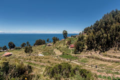 Άποψη του νησιού Taquile κοντά σε Puno, Περού Στοκ Εικόνα