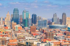 Άποψη του ορίζοντα πόλεων του Κάνσας στο Μισσούρι στοκ φωτογραφίες με δικαίωμα ελεύθερης χρήσης