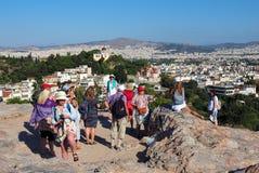 Άποψη του ορίζοντα της Αθήνας, Ελλάδα Στοκ Φωτογραφίες
