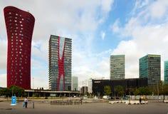 Άποψη του ουρανοξύστη γύρω από Plaza de Ευρώπη στη Βαρκελώνη Στοκ εικόνα με δικαίωμα ελεύθερης χρήσης