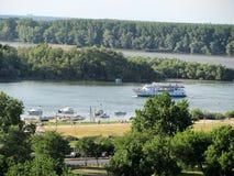 Άποψη του πάρκου Kalemegdan και του ποταμού Δούναβη, Βελιγράδι, Σερβία στοκ φωτογραφία με δικαίωμα ελεύθερης χρήσης