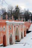 Άποψη του πάρκου Tsaritsyno στη Μόσχα γέφυρα παλαιά Στοκ Φωτογραφίες