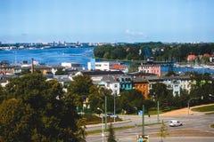 Άποψη του παλαιού τετραγώνου αγοράς κωμοπόλεων πόλεων του $ροστόκ με το Δημαρχείο, ιστορικό κέντρο, Γερμανία Στοκ εικόνες με δικαίωμα ελεύθερης χρήσης