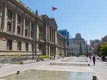 Άποψη του παλατιού των Δικαστηρίων του Σαντιάγο de Χιλή, θόριο Στοκ φωτογραφία με δικαίωμα ελεύθερης χρήσης