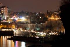 Άποψη του παλαιού λιμανιού Antalya τη νύχτα σε Kaleici Στοκ Εικόνες