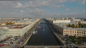 Άποψη του ποταμού Fontanka άνωθεν απόθεμα βίντεο