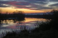 Άποψη του ποταμού Mures στη Ρουμανία στο ηλιοβασίλεμα στοκ φωτογραφία
