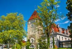 Άποψη του πύργου d'Ouchy, ένα παλάτι στη Λωζάνη Στοκ Εικόνες
