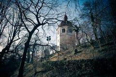 Άποψη του πύργου Glockenturm στο λόφο Schlossberg, Γκραζ Στοκ εικόνες με δικαίωμα ελεύθερης χρήσης