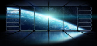 Άποψη του πλανήτη Γη από ένα τεράστιο τρισδιάστατο renderi παραθύρων διαστημοπλοίων Στοκ Εικόνες