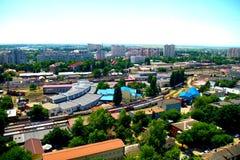 Άποψη του σιδηροδρομικού σταθμού της πόλης Krasnodar κάτω στοκ εικόνες
