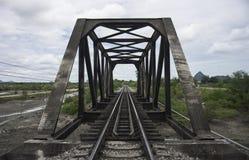 Άποψη του σιδηροδρόμου και της παλαιάς γέφυρας χάλυβα με το πράσινο δέντρο στο αριστερό και τη δεξιά πλευρά του σιδηροδρόμου, το  Στοκ εικόνα με δικαίωμα ελεύθερης χρήσης
