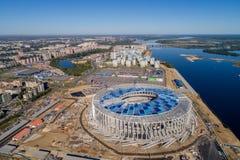 Άποψη του σταδίου Nizhny Novogorod, που χτίζει για το Παγκόσμιο Κύπελλο της FIFA του 2018 στη Ρωσία Στοκ φωτογραφίες με δικαίωμα ελεύθερης χρήσης