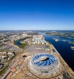 Άποψη του σταδίου Nizhny Novogorod, που χτίζει για το Παγκόσμιο Κύπελλο της FIFA του 2018 στη Ρωσία Στοκ φωτογραφία με δικαίωμα ελεύθερης χρήσης