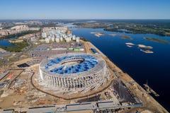 Άποψη του σταδίου Nizhny Novogorod, που χτίζει για το Παγκόσμιο Κύπελλο της FIFA του 2018 στη Ρωσία Στοκ Εικόνα